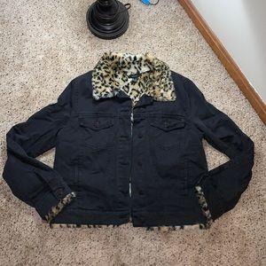 Forever 21 Black Denim Cheetah Fur Lined Jacket- L